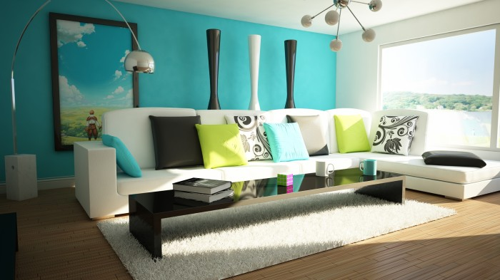 Aqua-Teal-modern-living-large-window-featured-painting-hillside-painting-700x393