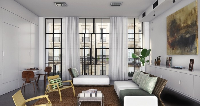 Black-framed-floor-to-ceiling-windows-modern-organic-living-featured-painting-700x371
