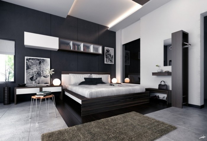 Monochrome-Modern-bedroom-black-and-white-prints-700x478
