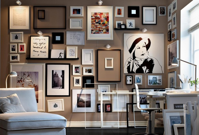 Monochrome-framed-collection-of-sketches-and-art-living-modern-700x476