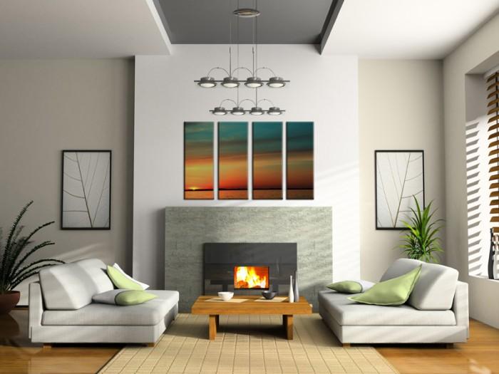Neutral-Living-fireplace-segmented-sunset-skyline-painting-700x525