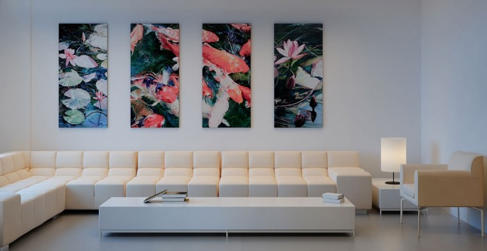 The-Sche-segmented-carp-water-lilly-paintings-cream-white-modern-living-thesche.com_-700x361