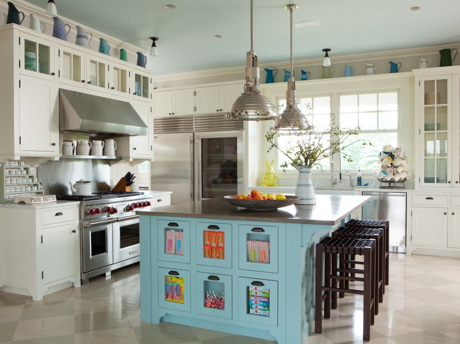 blue-ceiling-and-pendant-light-in-transitional-kitchen-ideas-design-with-kitchen-island-design-and-tile-flooring-also-woven-leather-barstools-plus-class-door-cabinet-915x685