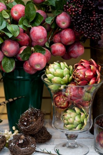 Holiday still life of fruits and vegetables.
