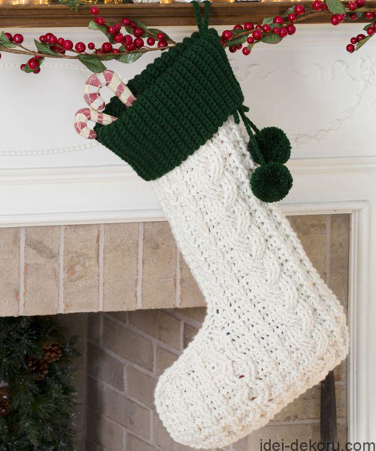 Crocheted Cable Christmas Stocking Elegant Aran stitches create this classic crocheted Christmas stocking design.