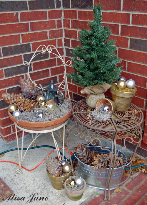 Decorating Ideas: Interesting Front Porch Christmas Decoration With Cream Iron Outdoor Coffee Table Including Christmas Tree Decoration