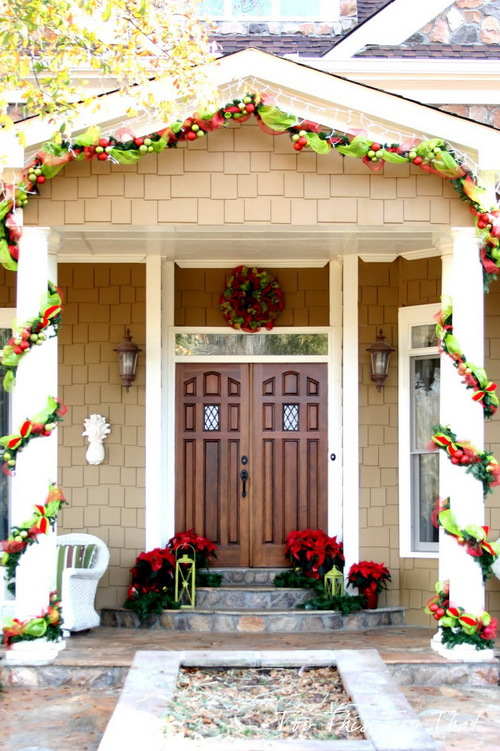 Marvellous Front Porch Christmas Decorating Design Ideas With Solid Wood Double Front Door Along With Cream Brick Exterior Wall And Christmas Decoration