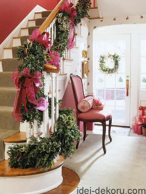 Pink ribbons on the banister garland!