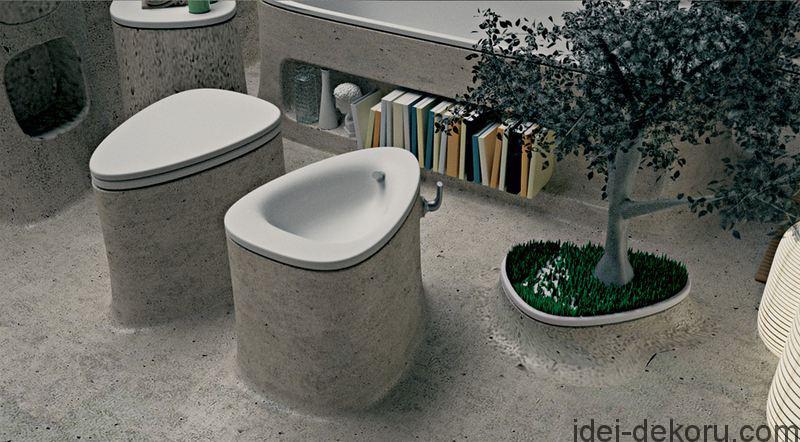 water-closet-of-Concrete-Bathroom-Design-Decorated-with-Planter
