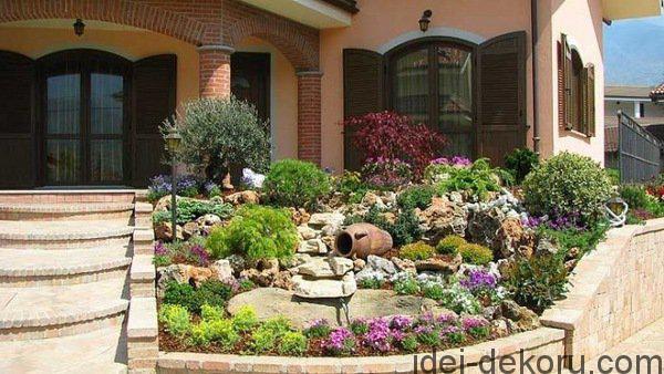 frontyard-garden-design-retaining-wall-stairs-garden-rocks-trees