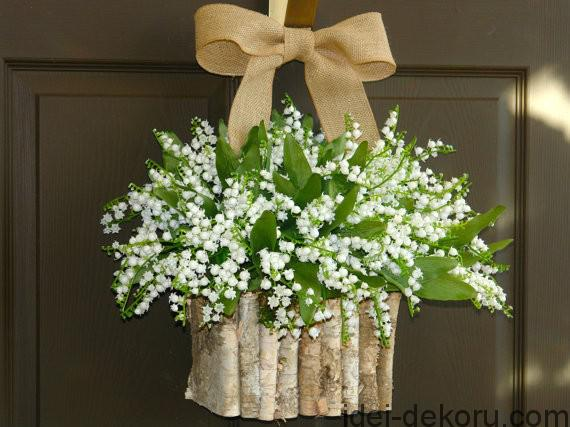 spring wreath easter wreaths lily of the valley wreath front door decorations spring birch bark vase-f35999