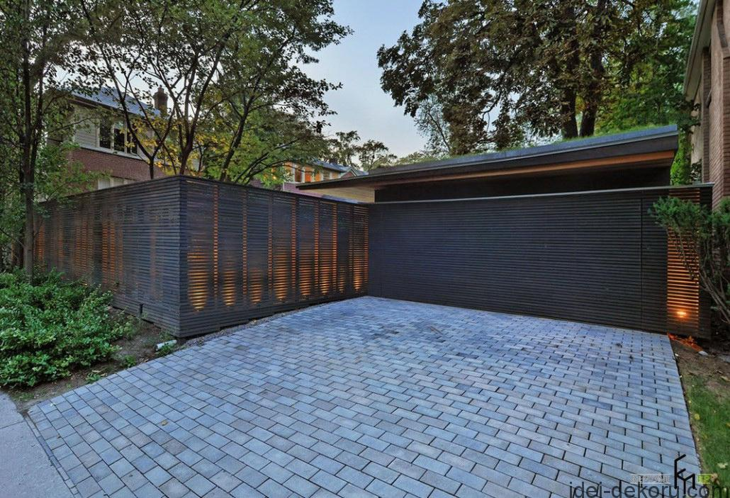 a-creative-rustic-wooden-fencing-with-brick-pavers-driveway-and-soft-lighting
