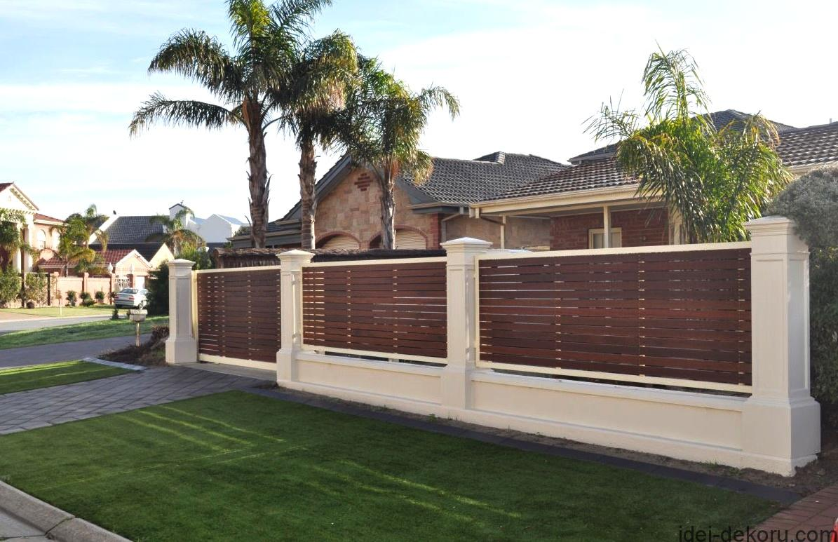 appealing-fences-design-for-houses-made-of-wood-naar-green-trees-and-simple-green-grass-yard-near-tidy-concrete-pathway