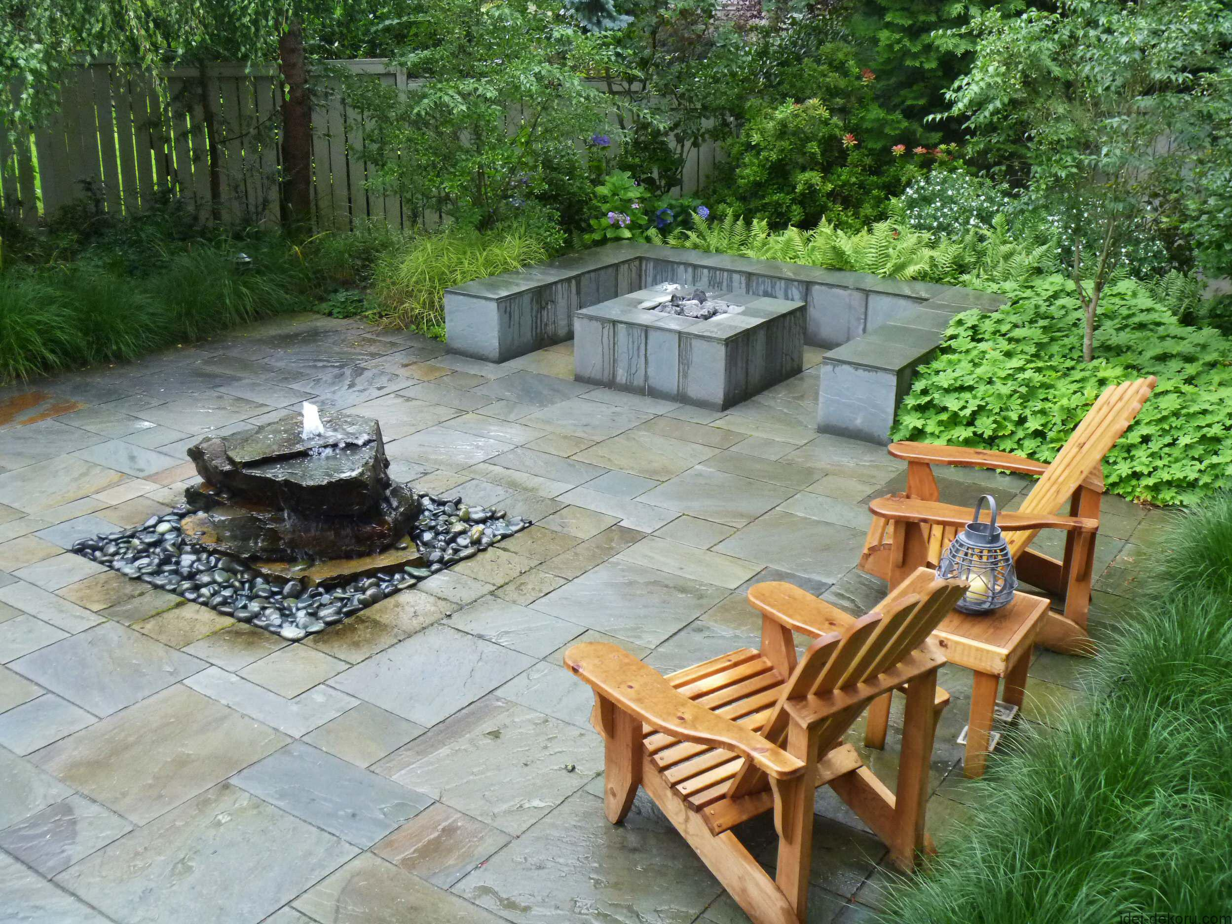 stone-pavers-and-pondless-water-features-with-gravels-also-patio-furniture-and-outdoor-fireplace-and-built-in-benches-for-backyard-landscaping-landscape-water-features