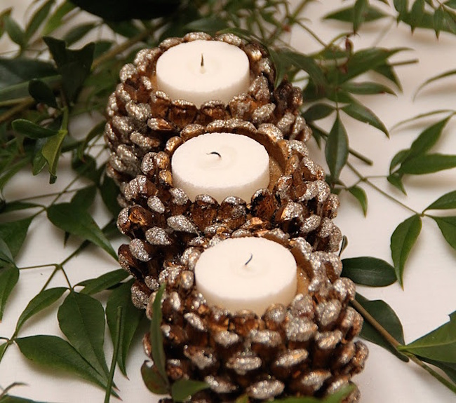 exciting-candle-holders-lighting-made-from-pine-cone-decorations-applied-for-romantic-dinner
