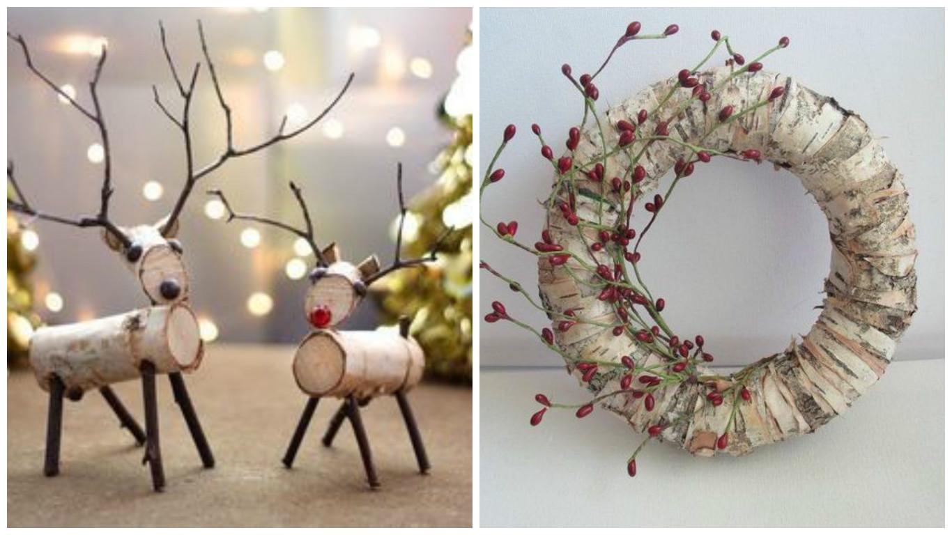 Зимовий декор з березової кори та гілок | Ідеї декору