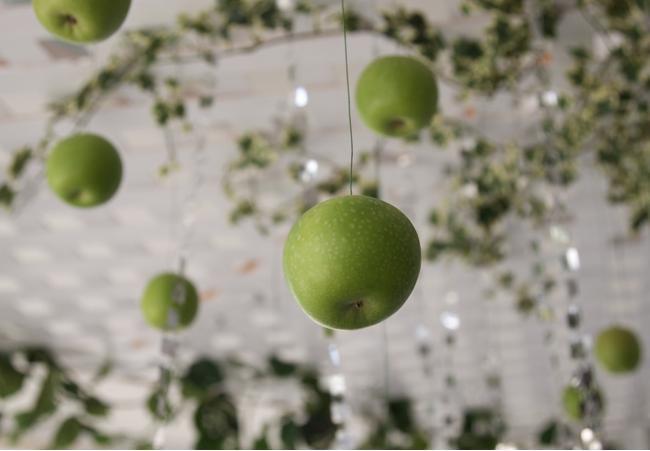 fall-wedding-venue-ceiling-apple-decoration-ideas