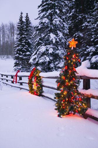 Christmas Holidays, Colorado, decorations along split wood rail fence.