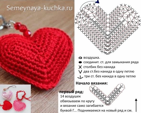 Вязаные игрушки сердечки крючком схемы