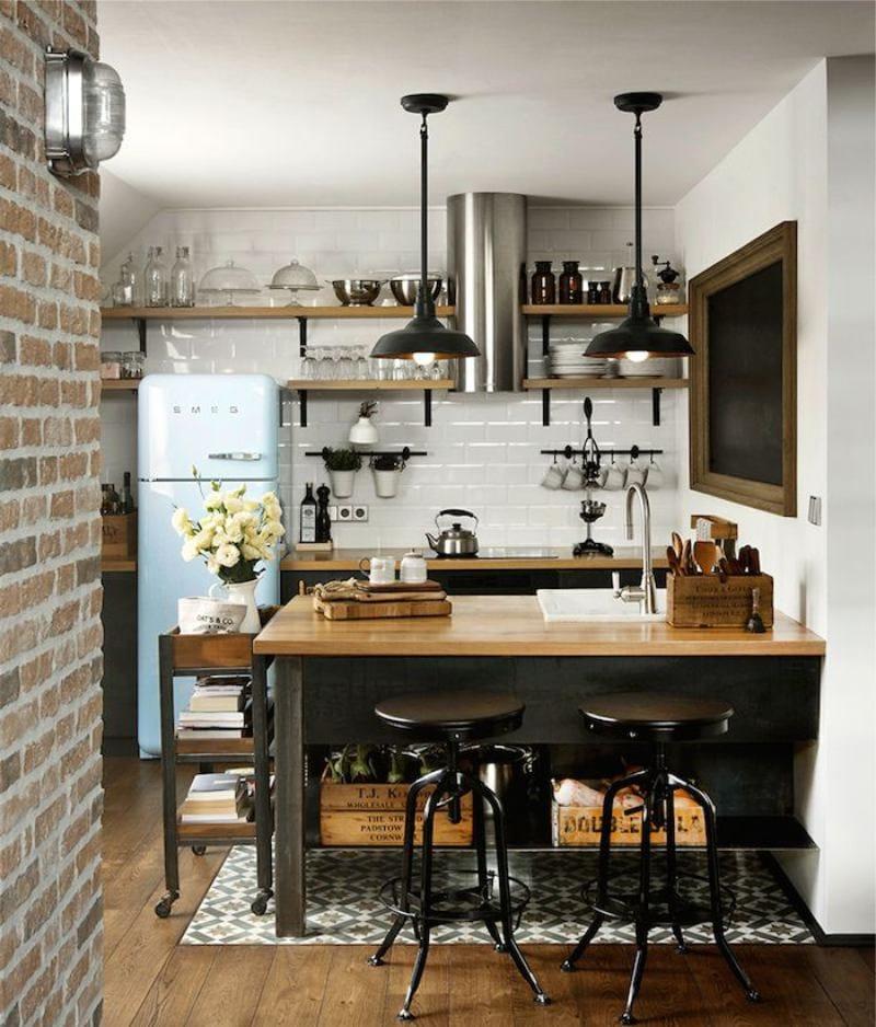 Интерьер-маленькой-кухни-в-стиле-лофт