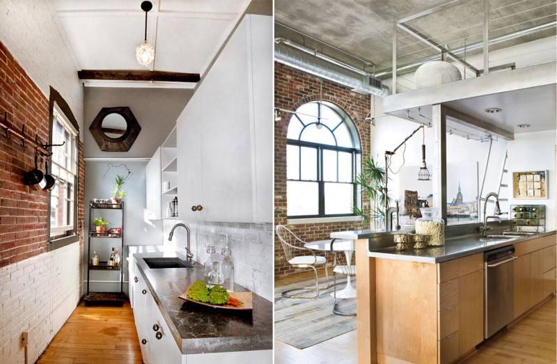 Отделка-потолка-на-кухне-в-стиле-лофт