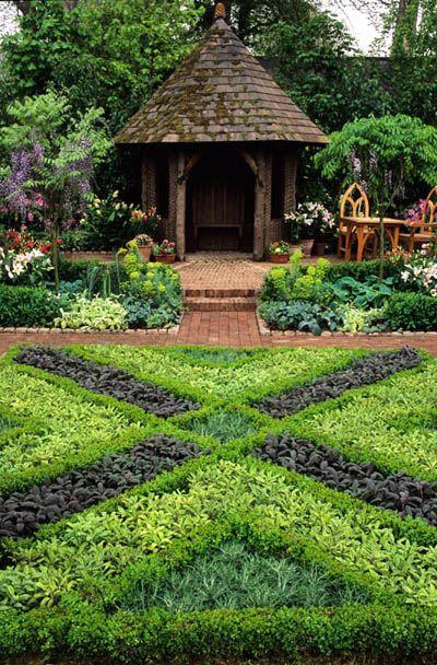 Chelsea FS 1991. Daily Telegraph garden. herb knot garden with gazebo