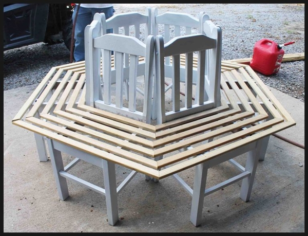 Creative-Ideas-How-to-Build-a-Bench-Around-a-Tree-Using-Old-Kitchen-Chairs-4