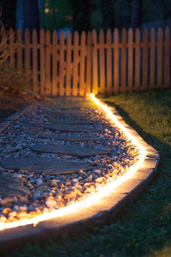 Rope light, Incandescent, Clear, Walkway, Outdoors, Indoors, Stakes