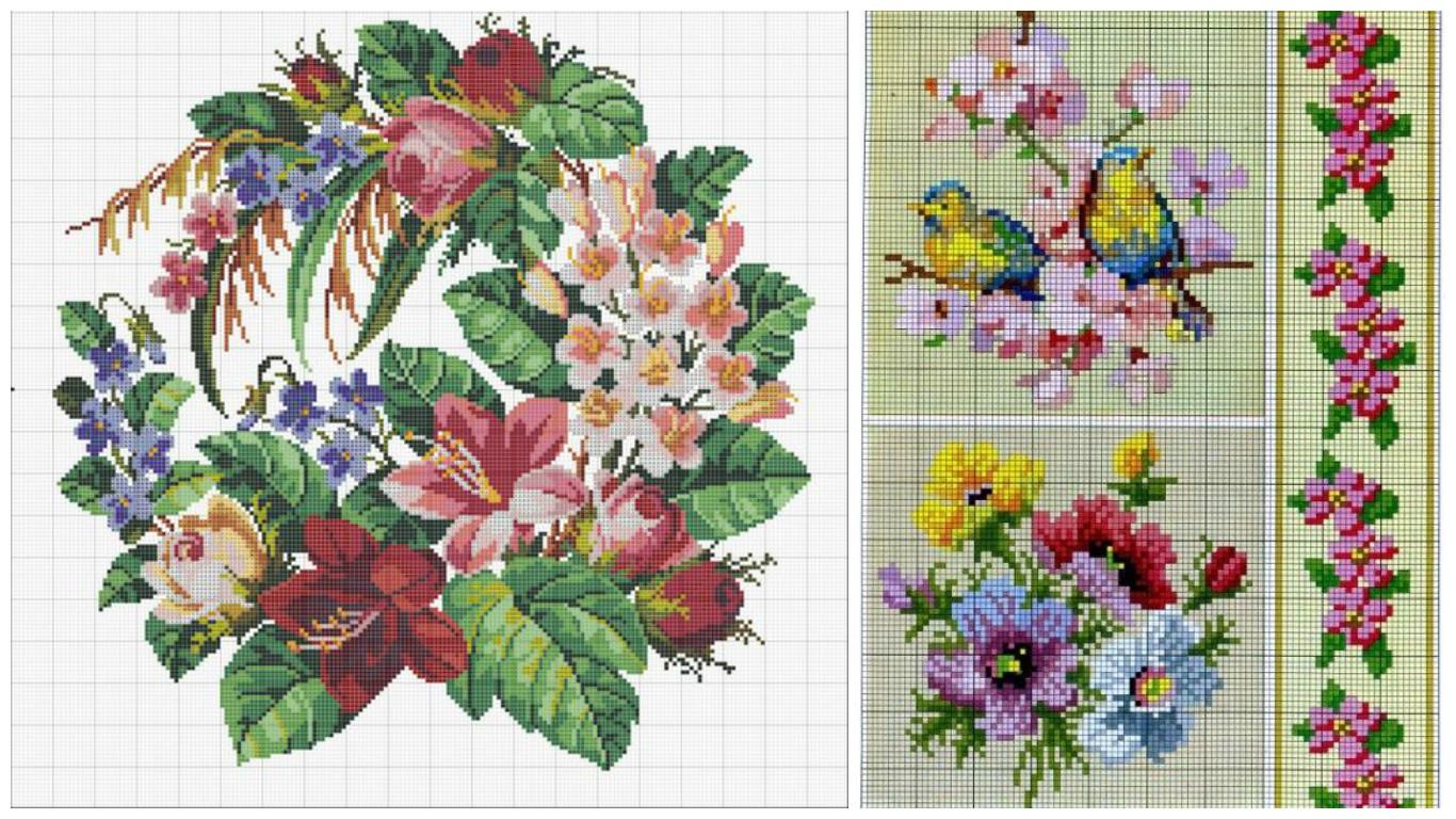 Весняні квіти  50 схем вишивки  c23614efa5956