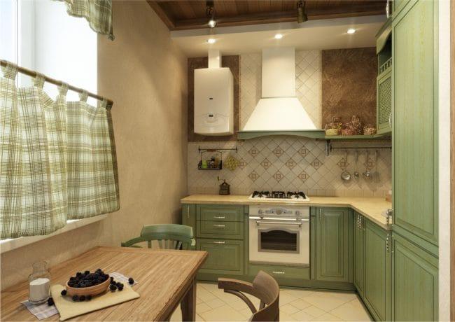 Маленькая-кухня-с-балками-в-стиле-кантри-2