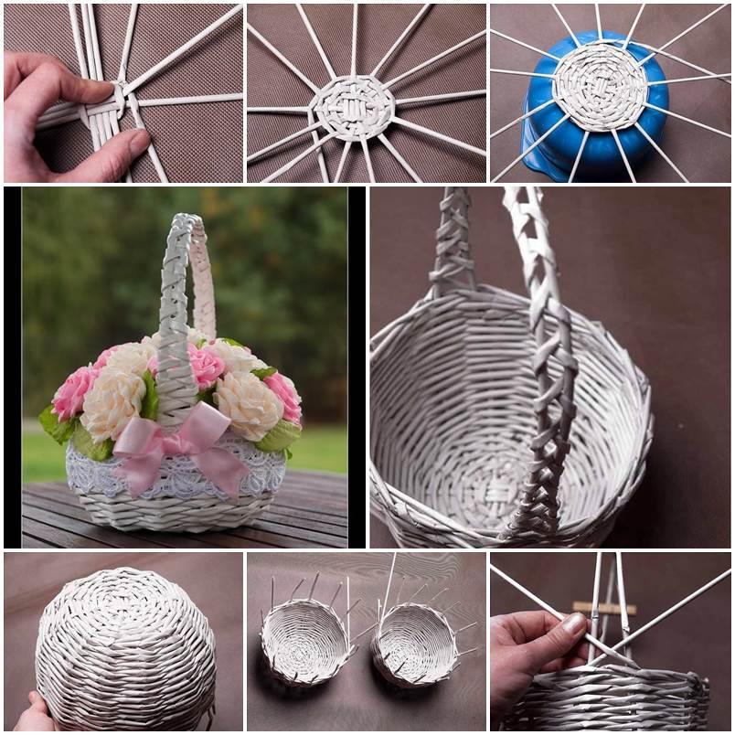 DIY-Newspaper-Tubes-Weaving-Basket-1