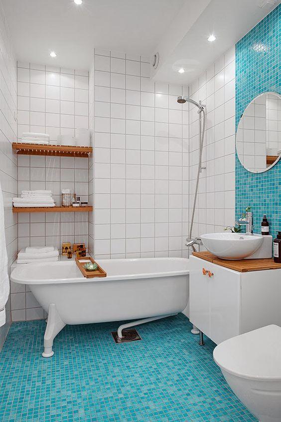 Fancy White Blue Bathroom Amazing Swedish Apartment Design