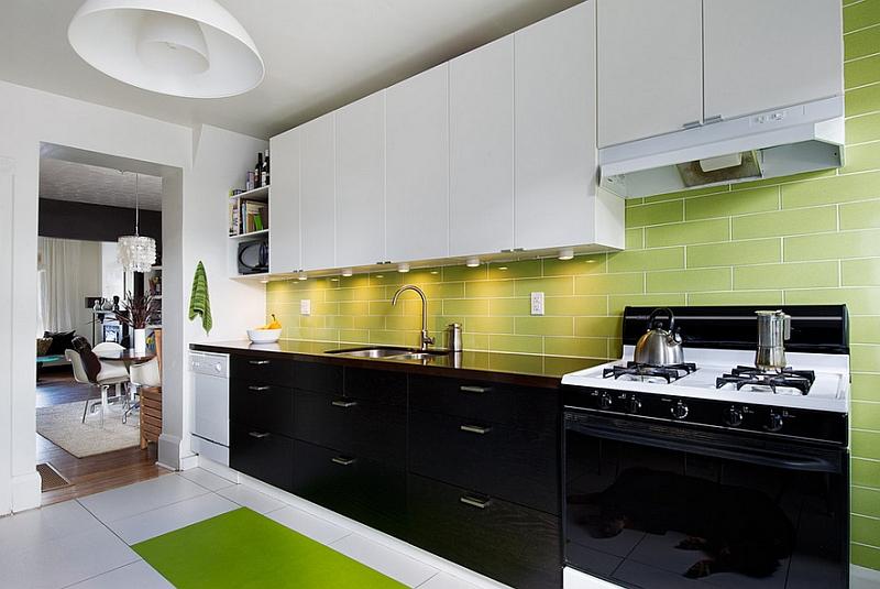 Black-white-and-green-kitchen