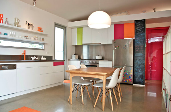 Stainless-steel-cabinetry-in-a-colorful-modern-kitchen