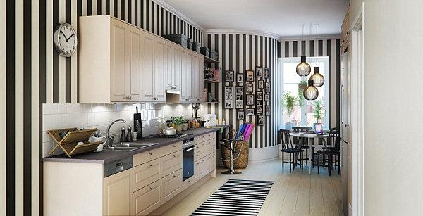 Stripes-in-a-Scandinavian-kitchen