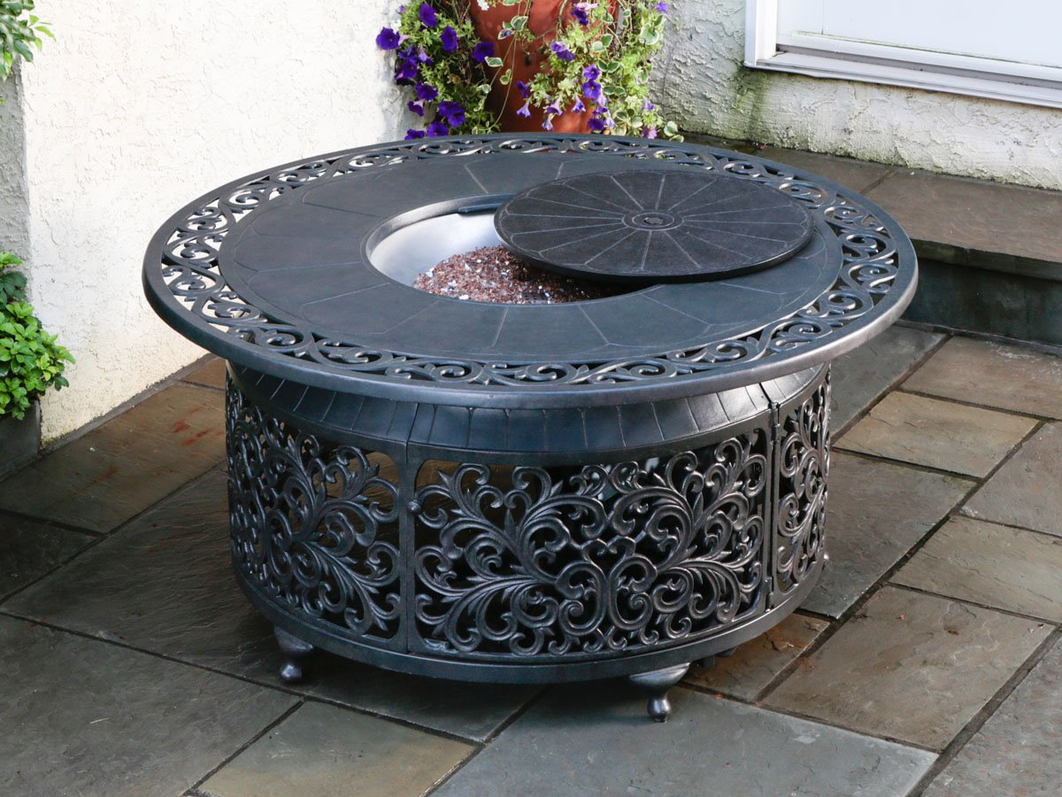 fireplace-comely-ideas-for-outdoor-living-space-decoration-design-using-round-black-metal-propane-fire-pits-coffee-table-inspiring-ideas-for-outdoor-living-space-decoration-using-propane
