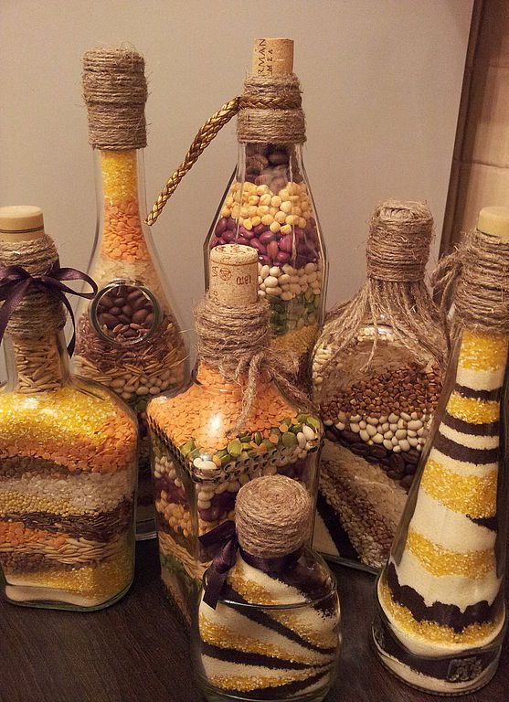 ручная работа, handmade, Ярмарка Мастеров,бутылочка с крупой,бутылочка стеклянная,бутылка декоративная,Декор,крупа,стекло,крупа