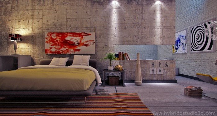 Concrete-and-painted-brick-modern-bedroom-quirky-signage-and-graphic-prints-700x376