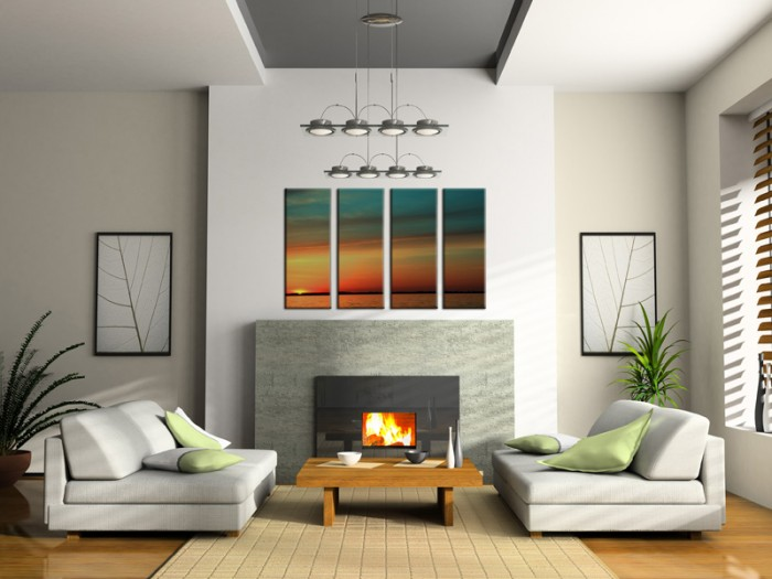 Neutral-Living-fireplace-segmented-sunset-skyline-painting-700x525
