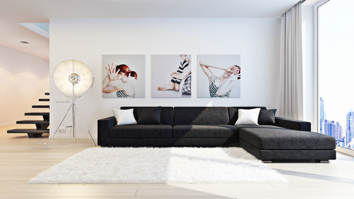 Sergei-Kharenko-Inner-city-monochrome-living-triple-series-wall-painting-tripod-spotlamp-700x393