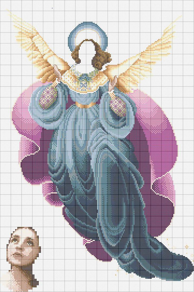 Схема вышивки крестом ангел моря