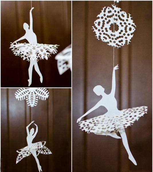 Балерины снежинки  из бумаги 59