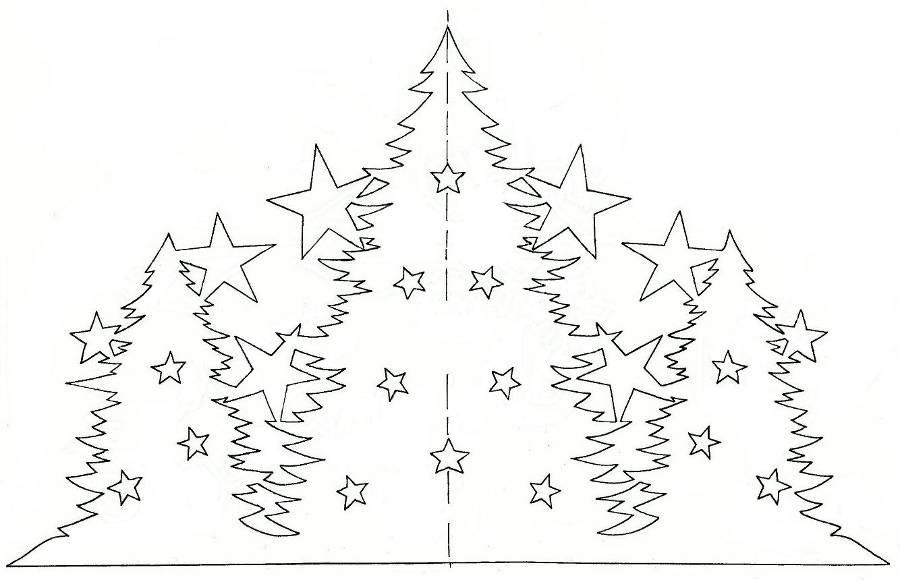 Схема, Трафарет, Шаблон - Елки и звезды - Объемная Подставка, Украшение комнаты, класса, зала из бумаги к Рождеству, Новому году!