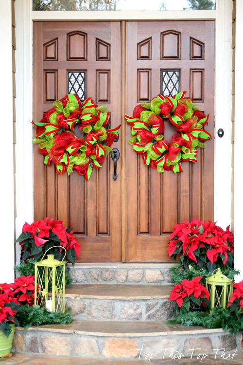 front-porch-furniture-beautiful-christmas-door-decorating-ideas-using-dark-brown-teak-wood-double-door-decor-plus-beautiful-round-shaped-flowers-decor-and-sto
