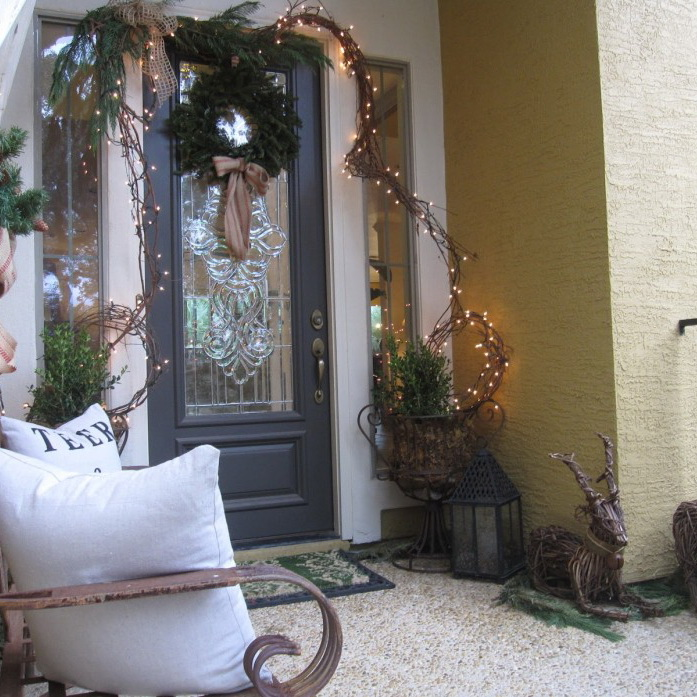 Fascinating Front Porch Decorating For Christmas By Green Porch On The Glass Door With Gray Wooden Frame Combined With Lamps On The Cream Wall