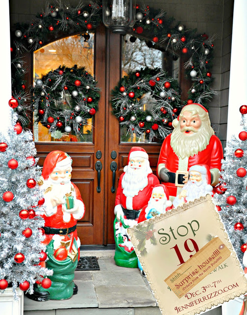 Outstanding Front Porch Decorating For Christmas By Red Balls On The Green Circlw Placed On The Glass Door Feat Brown Wooden Frame Combined With Santa Clause Statue