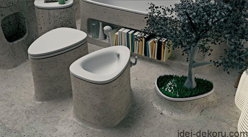 water-closet-of-Concrete-Bathroom-Design-Decorated-with-Planter