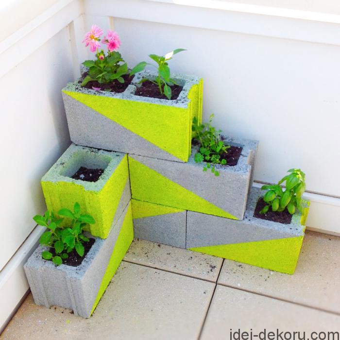Modern-Neon-Concrete-Block-Planter