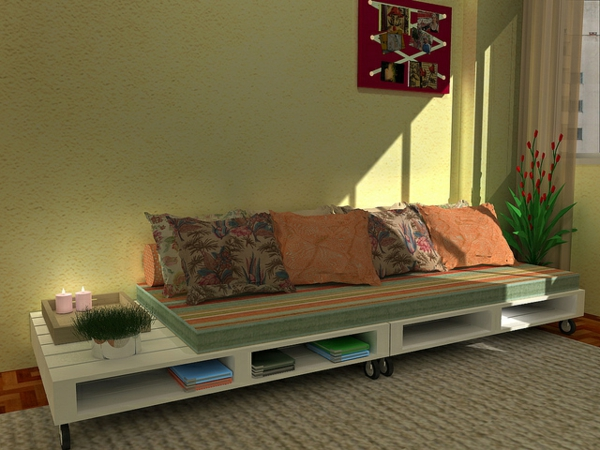canapee-en-palette-etagere-livre-coussin-design-vert-doux
