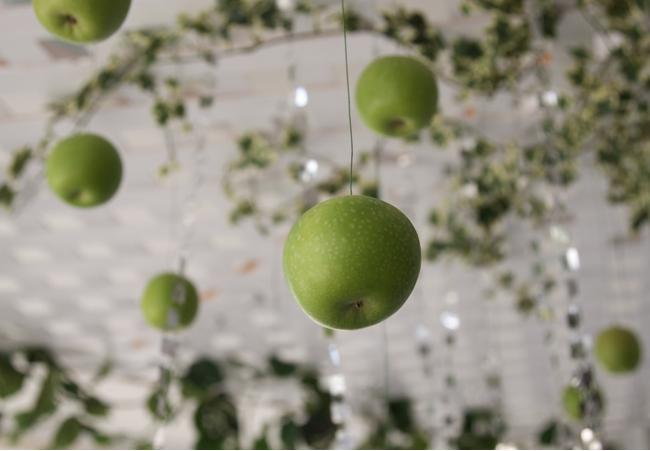 fall-wedding-venue-ceiling-apple-decoration-ideas